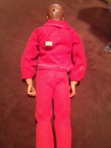 A vintage Steve Austin doll. See the hole in the head? The push-button on his back 'controlled' his bionic left arm, which meant that his left arm was in fact useless. (Photo from eBay.)