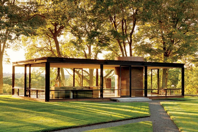 The Glass House. Located in New Canaan, CT, it was built in 1949.