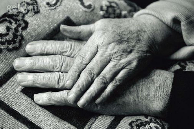 Holding Hands Old Couple