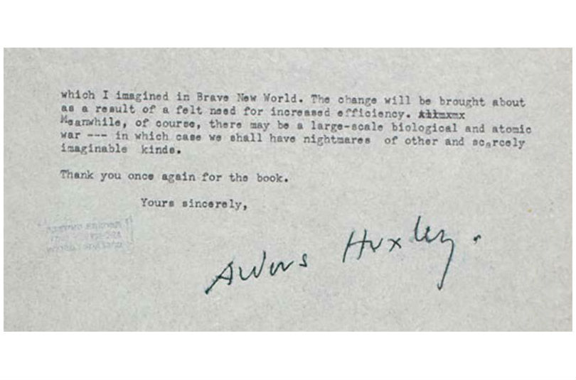 Huxley S  Letter To Orwel